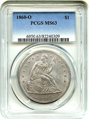 1860-O $1 PCGS MS63 - Popular New Orleans Mint - Liberty Seated Dollar