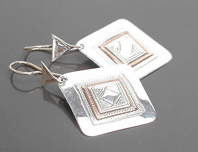 Beautiful Silver & Copper Tuareg Earrings with  Gift Box - African Jewellery