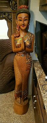 "Hand Carved Antique Thailand Sawasdee Lady Welcome  Statue. 67"" Tall & heavy"