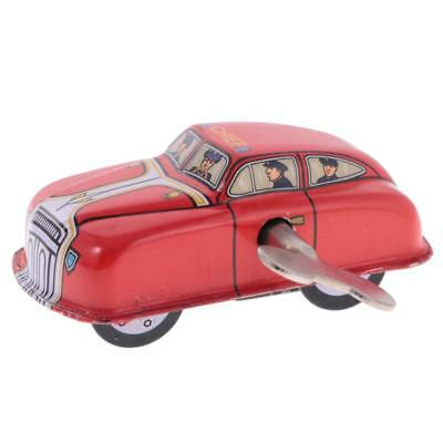 Vintage Wind Up Fire Car with Key Clockwork Metal Tin Toys Collectible Gifts