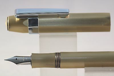 New DELIKE Alpha Extra Fine Fountain Pen, Antique Brass with Chrome Trim