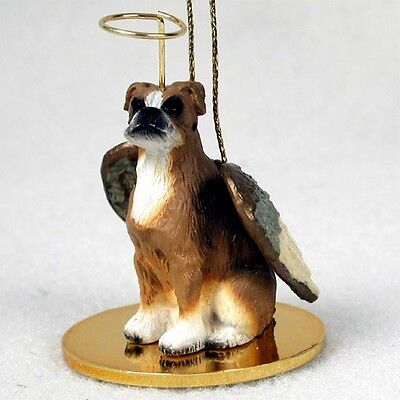 BOXER UnCropped Ears Dog ANGEL Tiny One Ornament Figurine Statue
