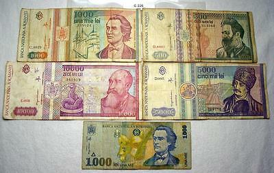 Lot Of 5 Notes From Romania, 500-10000 Lei #c226