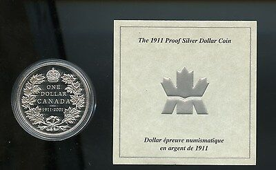 1911 - 2001 Canada Proof Silver dollar Coin and COA only. A775