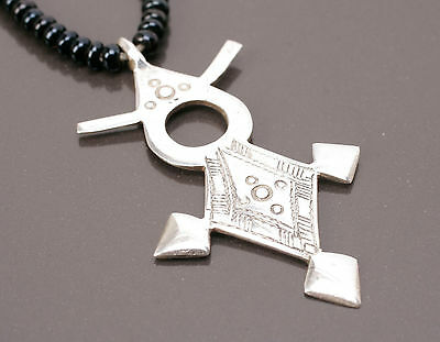 Beautiful Silver & Black Beads Tuareg Agadez Cross Necklace - African Jewellery