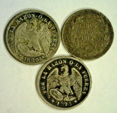 3 Chile Silver 5 Centavos  Medio Decimo 1874,1880,& 1919 Reduced 11/22/18 3759