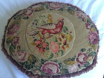 VINTAGE  STUNNING Completed CUSHION COVER Floral Bird French Boho Tapestry