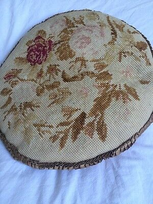 VINTAGE Lovely French floral CUSHION COVER Tapestry Needlepoint Boho Shabby Chic