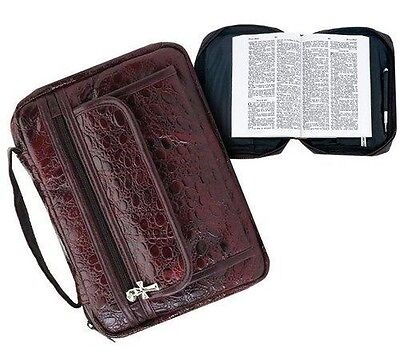 Burgundy Genuine Leather Bible Book Cover Purse Case Tote Bag Unisex