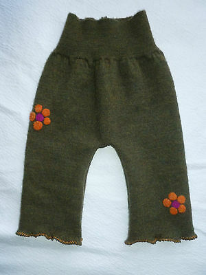 wool longies longie *NEW* diaper cover soaker pants orange retro flowers S