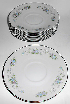 Carlton Fine China Corsage Floral w/Platinum Set/6 Saucers