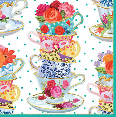 Teacups and Saucers and flowers cocktail tea napkins 20 pack 25cm square 3 ply