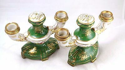 Pair of 19th Century French Porcelain Green & Gold Porcelain Candelabras