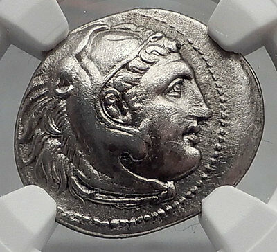 ALEXANDER III the GREAT Authentic Ancient Silver Greek Coin ZEUS NGC XF i61903