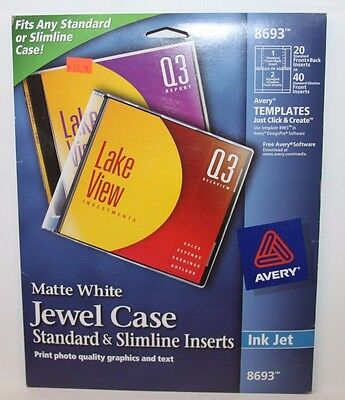 Avery 8693 CD/DVD Jewel Case Inserts for Ink Jet Printers, White, Pack of 20 New