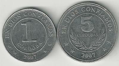 2 DIFFERENT COINS from NICARAGUA - 1 & 5 CORDOBAS (BOTH DATING 2007)