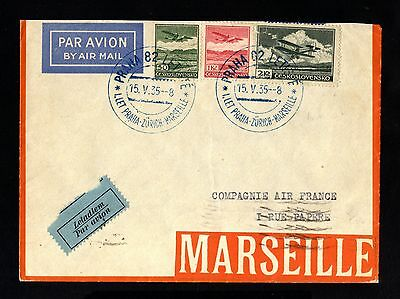 15514-CZECHOSLOVAKIA-AIRMAIL COVER PRAG to MARSEILLE (france)1935.WWII.