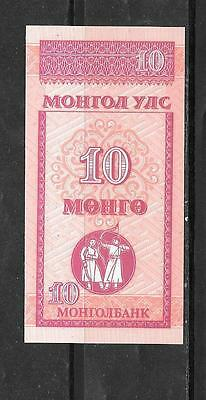 Mongolia #49 1993 10 Mongo Small Unc Mint Old Banknote Bill Note