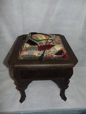 Vintage Wooden Mahogany Sewing Stand Cabinet Crazy Quilt Lid
