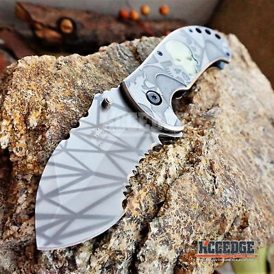"8"" 4MM GLOW In The DARK SKULL HUNTING COMBAT Assist Open SILVER STONEWASH Knife"