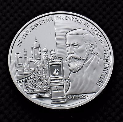 SILVER COMMEMORATIVE 10 ZLOTY COIN OF POLAND - IGNACY LUKASIEWICZ (MINT) Ag