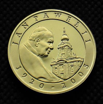 GOLD PLATED SILVER COMMEMORATIVE COIN POLAND - TRIBUT TO POPE JOHN PAUL II Ag