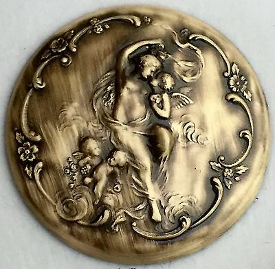 "VINTAGE ART NOUVEAU BUTTON ON DOMED Stamped Brass~Antique & Vintage~2""INCH"