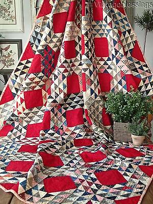 Great Display! RICH RED Antique Ocean Waves QUILT April 1901 & 1933