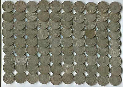 1 Kilo(1004 grams) of Silver Coins - 90 x Florins 1946 to 1963