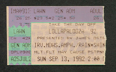 1992 Lollapalooza Concert Ticket Stub Red Hot Chili Peppers Pearl Jam Ministry