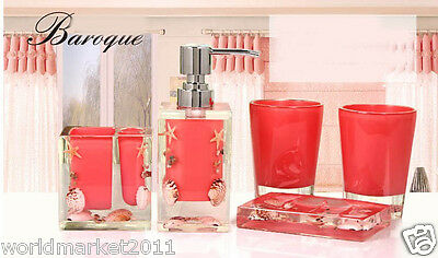 A29 Resin Light Coral 5-in-1 2Tooth Mugs/Soap Dish/Sanitizers Bottle/Toothbruss