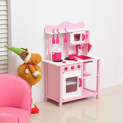 Kids Play Kitchen Children's Role Play Pretend Set Toy Pink Wooden