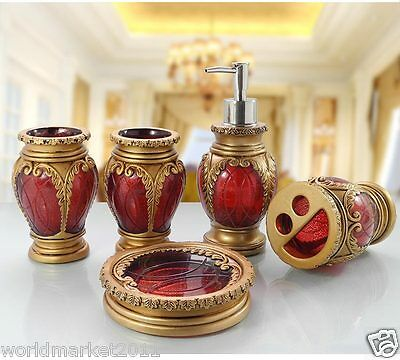 Red Resin 5-in-1 Soap Dish/ 2Tooth Mugs/Emulsion Bottle/Toothbrush Holder