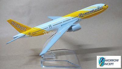 16cm 1:450 Scoot Airlines FlyScoot 777 Airplane Diecast Metal Plane Toy Model