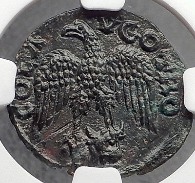 ALEXANDRIA TROAS Authentic Ancient Greek Coin TYCHE & EAGLE w Bull NGC MS i61939
