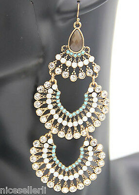 BOHO Fashion Multi Crystal Ear Drop Dangle Stud Ancient Silver long Earrings 284