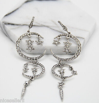 BOHO Fashion White Crystal Ear Drop Dangle Stud Ancient Silver long Earrings 286