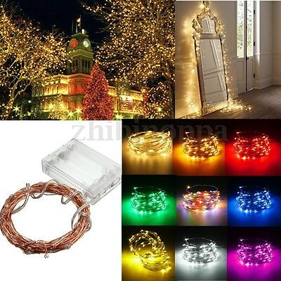 2-10M Battery Powered Mini 20-100 LED Copper Wire Fairy String Lights Xmas Party