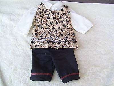 Alte Puppenkleidung Folk Pants Suit Outfit vintage Doll clothes 45 cm Boy