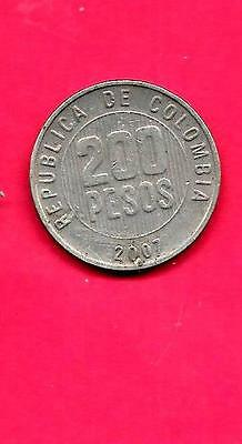 Colombia Km287 2007 Vf-Very Fine-Nice Large Modern 200 Peos Coin