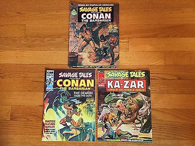 Marvel Comics SAVAGE TALES #2, 3, 6; CONAN, KA-ZAR; 1973-1974