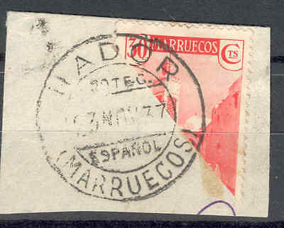 SPAIN, SPANISH-MOROCCO. 1937 Bisected 30c.Fine Used. SEE ITEM SPECIFICS BELOW