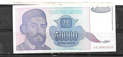 Yugoslavia #130 1993 Vg Used 50000 Dinara Banknote Paper Money Currency Note