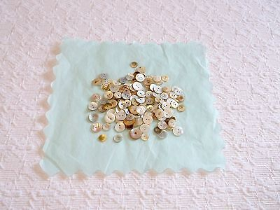 Vintage Small Mother of Pearl Two Hole Buttons Lot 160pcs 10mm-17mm