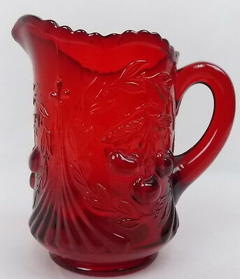 "Vintage Ruby Red Glass Creamer LG Wright for Fenton Cherry Design 4.75""  #1869"