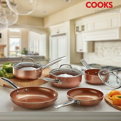 Cooks Professional Copper Effect Aluminium Induction Frying Pan Sauce Pan Set