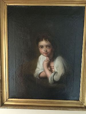 Lovely mid-Victorian oil on canvas painting of a young girl after Rembrandt