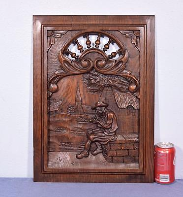 *French Breton Panel Brittany in Chestnut Wood with Man Smoking Pipe