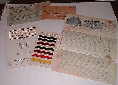RARE Antique 1904 Sears Buggy Catalog / Letter Forms & Paint chip Sample card