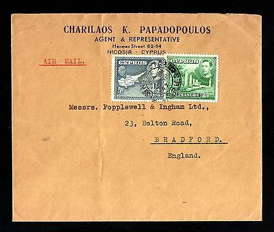 15692-CYPRUS-AIRMAIL COVER NICOSIA to BRADFORD (great britain) 1947.WWII.Zypern